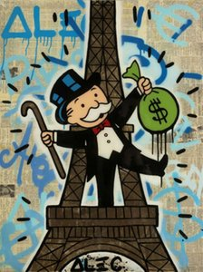 Alec Monopoly Urban art Eiffel Tower Home Decor Handpainted &HD Print Oil Painting On Canvas Wall Art Canvas Pictures 1184
