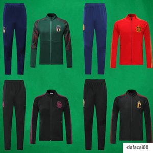 19 20 Belgium Soccer Jacket Pants Italy Outdoor Football Coat Spain Football Sweatershirt and Trousers Mexico Soccer Training Suits
