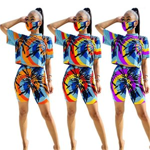 Dyed Tracksuits with Mask Woman Slim Running 2pcs Suits O-Neck Tshirts Shorts Clothing Sets Outfits Women Summer Tie