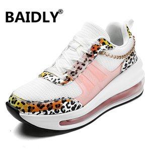 Chaussures Printemps Eté Femme respirant Air Mesh Flat Plate-forme Chaussures Femmes Chaussures de sport Leopard femmes swing Wedges dames Chaussures