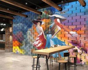 Caractère personnalisé Fond d'écran 3D de dégradé de couleur Mur de briques Mode Sexy Beauté Peinture à l'huile de fond mur HD supérieure Intérieur Fond d'écran