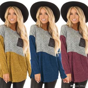 2018 new large size women casual T-shirt fashion stitching round neck long sleeve comfortable shirt cheap free shipping 9063
