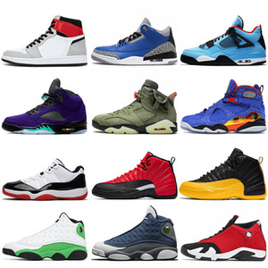 NIKE Air jordan retro 2020 Basketball Shoes Jumpman 1 1s Travis scotts 4s 5 Alternate Grape 8s Flu Game 12 12s Flint 13 14 Gym red Nakeskin airJordan shoes