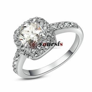 2014 Vendita Calda all'Ingrosso, Spedizione Gratuita in Oro Bianco 18K Placcato 1CT emulational è anelli di nozze di Diamante Utilizzare Austria Crystal anelli vintage R070W1