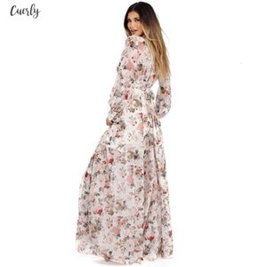 Women V Neck Long Sleeve Chiffon Floral Long Maxi Evening Party Dress New Fashion Style Ankle Length Dress Vestidos *15