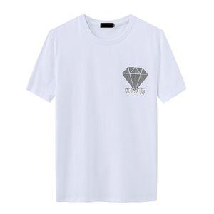 Summer Casual Mens Designer T Shirts Short-sleeved Hot Rhinestone Slim Crew Neck Tops Tee Mercerized Cotton ay1