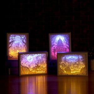 Yumuşak LED Gece Işık başucu Kağıt oyma lambası özel Yaratıcı Masaüstü romantik çift fotoğraf çerçevesi lamba