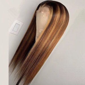 Ombre Blonde Kinky Straight Silk Lace Front Wigs With Natural Hairlines 100% Unprocessed Human Hair Wigs Bleached Knots Lace Front Wig