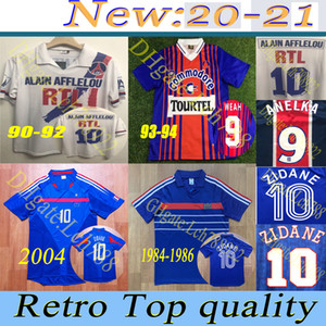 90 92 93 94 Retro version Paris Soccer Jerseys WEAH GINOLA WORNS SIMONE LEROY AVELAINE 84 86 France ZIDANE shirt sleeve football uniform