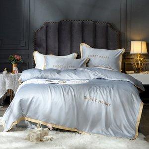 OLOEY reine Bettwäsche Stickerei Bettwäsche Set Tröster Bett gesetzter Luxus Satin Seide festes Bettbezug Queen-Size-Blatt goldener Rand
