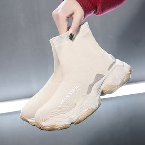 Femmes High Top Sock Chaussures Chunky Chaussures Slip-on Ladies Platform Chaussures Casual Automne New Femmes Chaussures Botas mujer 998w CX200724