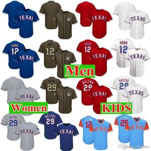 Homens Womens Juventude Texas Jerseys 12 Odor 29 Beltre Baseball Jersey Branco Cinza Cinza Vermelho Azul Verde saudação ao Serviço Jogadores de-semana All-Star