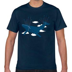 T Gömlek erkekler uçan mavi balina Komik Beyaz Pamuk Erkek Tişörtü Tops
