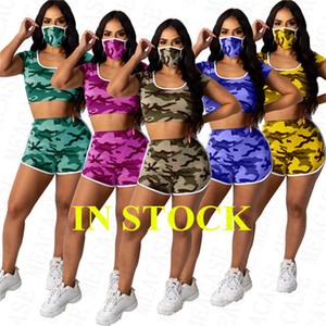 Summer women designer tracksuit camo color hooded crop top t shirt + biker shorts + face mask 3pcs clothes set sportswear outfit D71406
