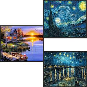 Hauptdekoration DIY 5D volle Diamant-Stickerei Van Gogh Starry Night-Kreuz-Stich-Kits abstrakte Ölgemälde-Harz-Fertigkeit