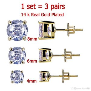 3 Pairs Set 4-8 mm 14K Gold Plated CZ Square Iced Out Stud Earrings With Safety Screw Back For men and Women