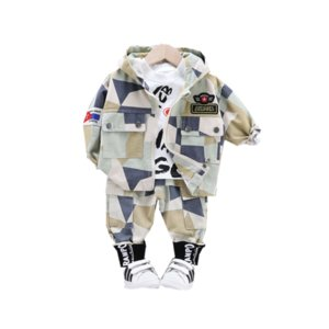 2020 New Spring Children Active Clothes Baby Boys Girls Camouflage Hooded Jacket T Shirt Pants 3Pcs sets Kids Infant Tracksuit