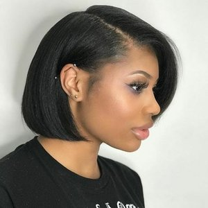 Lace Front Human Hair Wigs Straight Short Bob Wigs For Black Women Pre Plucked With Baby Hair Bleached Knots ISHE