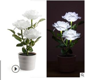 2020 새로운 3 LED 램프 3 분재 시뮬레이션 꽃 분재 태양 테이블 램프 밤 램프 흰색을 주도 장미