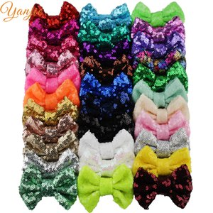 """Free DHL 300pcs lot 3"""" Sequins Bow WITHOUT Hair Clips Girls Solid Tiny Glitter Hair Bow For Kids DIY Headbands Hair Accessories Y200710"""