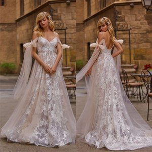 Sexy Boho Spaghetti Strap A-line Wedding Dresses With Bow Full Appliqued Lace Beach Wedding Dress Backless Custom Made Long Robes De Mariée
