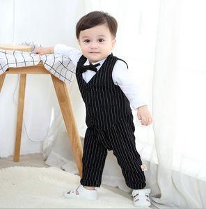 New cross border children's wear gentleman's bow tie baby creeper long sleeve open file newborn Romper