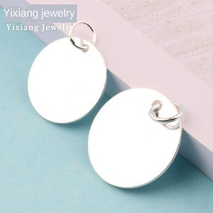 Sterling Silver 925 round smooth simple personality couple necklace coin tag Pendant-shaped pendant pendant accessories