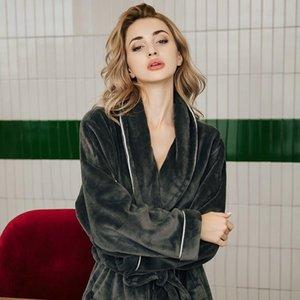Elegance Women Bathrobes Warm Bath Robe Thick Flannel Winter Homewear Women Dressing Gown Coral Fleece Robes