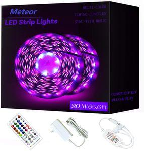 65.6ft / 20m RGB LED Şerit Işıklar Ultra Uzun Renk Uzaktan 600LEDs Parlak LED Işıklar DIY Renk Seçenekleri Teyp Işıklar ile Işık Strip değiştirme