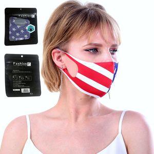 Máscara American National face da bandeira do patriota Design de protecção cobrir a boca Adultos Respiração Mulheres Homens lavável reutilizável com o Inglês Package