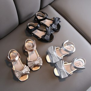 Rhinestone children's shoes 2020 High-heeled and sandals new bow girl sandals little girl Crystal high-heeled shoes