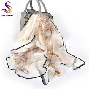 [BYSIFA] Feminino Primavera Branco Chiffon lenços de seda New Design Floral longa 100% Silk Scarf Shawl Outono Inverno Mulheres Neck Scarf CX200730