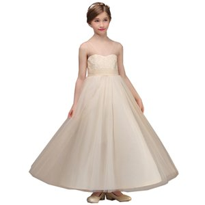 Lovey Champagne Lace Princess Flower Girl Dresses 2020 Ball Gown First Communion Dresses For Girls Sleeveless Tulle Toddler Pageant Dresses