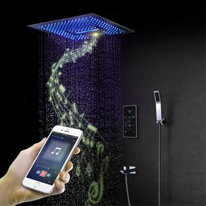 블루투스 뮤직 샤워 세트 스마트 터치 패널 샤워 믹서 밸브 천장 마운트 샤워 꼭지 LED 욕실 16 인치 샤워