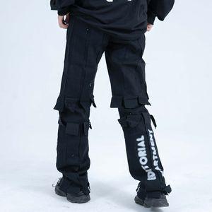 High Street Patchwork drappeggiato Pantaloni uomini e le donne con coulisse allentati Pantaloni Hip Hop Solid Oversize Pants