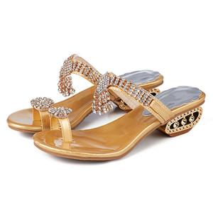 Новые 2020 лето сандалии женщин обувь Rhinestone женщин сандалии плоские дамы Золото Серебро обувь YX2126