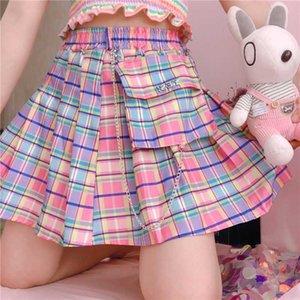 Harajuku Plaid Röcke Frauen Kawaii mit hohen Taille A-Linie gefalteter Miniröcke Regenbogen Korean Japanischer Schuluniform