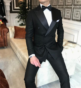 Black Double Breasted Men Suits Groom Tuxedos for Wedding SuitsTwo Pieces (Jacket Pants) Formal Man Blazer Latest Style