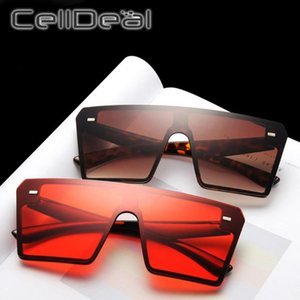 2020 Luxury Fashion Oversized Square Sunglasses Women Flat Top Red Black Clear Lens One Piece Men Gafas Shade Mirror PC Glasses