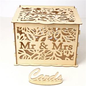نحت MrMs حالة رسم خشبي بطاقات مربع مع قفل التخزين مجوهرات هدية حامل مستطيل منظم الزفاف الأطراف 19 5jma C2