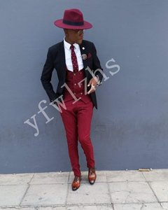 Handsome Two Buttons Groomsmen Notch Lapel Groom Tuxedos Men Suits Wedding Prom Dinner Best Man Blazer(Jacket+Pants+Tie+Vest) W226