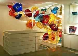 100% Hand Blown Murano Glass Hanging Plates Wall Art Dale Chihuly Style Borosilicate Glass Art Hand Blown Blue Glass Flower Wall Art Plates