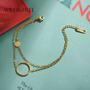 Wild & Free Stainless Steel Layered Chain Circle Bracelets For Women Fashion Jewelry Gold Round Disc Pendant Charm Body Jewelry
