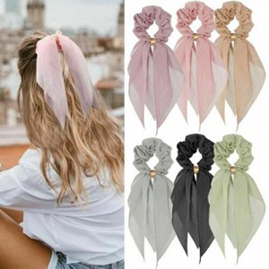 Mujeres de la vendimia Headwear turbante bricolaje arco Pelo de las flámulas de la cinta Scrunchies lazos del pelo de cola de caballo corbata Cabeza Accesorios Wrap