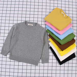 children's clothing autumn new Korean style boys and girls solid color pullover sweater candy base shirt