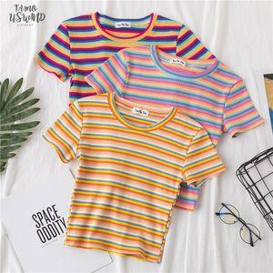 New T Shirt Women Rainbow Striped Tops Fit T Shirt Harajuku Tshirt Summer Short Sleeve Korean T Shirt Feminina Clothes Tops