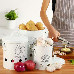 خزائن المطبخ حاوية صندوق البطاطا والبصل بن منظمة دلاء معدنية تنفس زجاجة الخضار جرة عناصر المطبخ
