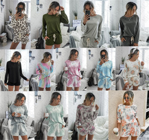2020 Women's Hoodie and Shorts Set 2 piece Floral Tie dye Solid Tracksuit Pullover Shirt Drawstring Shorts Outfit Fashion Suit Cloth D71407
