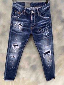 2020 Forma-preto dos homens 20SS motociclista jeans rasgado Calças afligido Primavera-Verão lápis Hombres Jean Pantalones