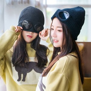 Fashion Unisex Wool Knitted Goggles Autumn Winter Warmer Hat Sports Skiing Skateboard Cap Heat Keeper Ear Snow Cold Protector Q1